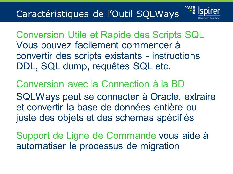 Caractéristiques de l'Outil SQLWays
