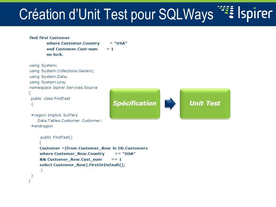 Création d'Unit Test pour SQLWays