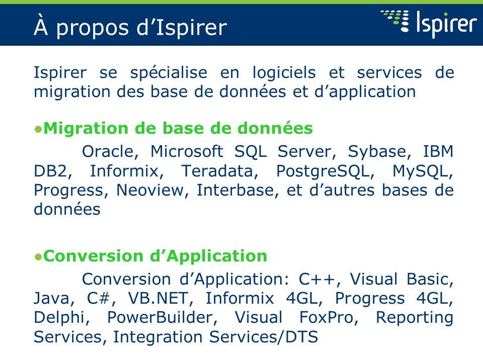À propos d'Ispirer Ispirer se spécialise en logiciels et services de migration des base de données et d'application.