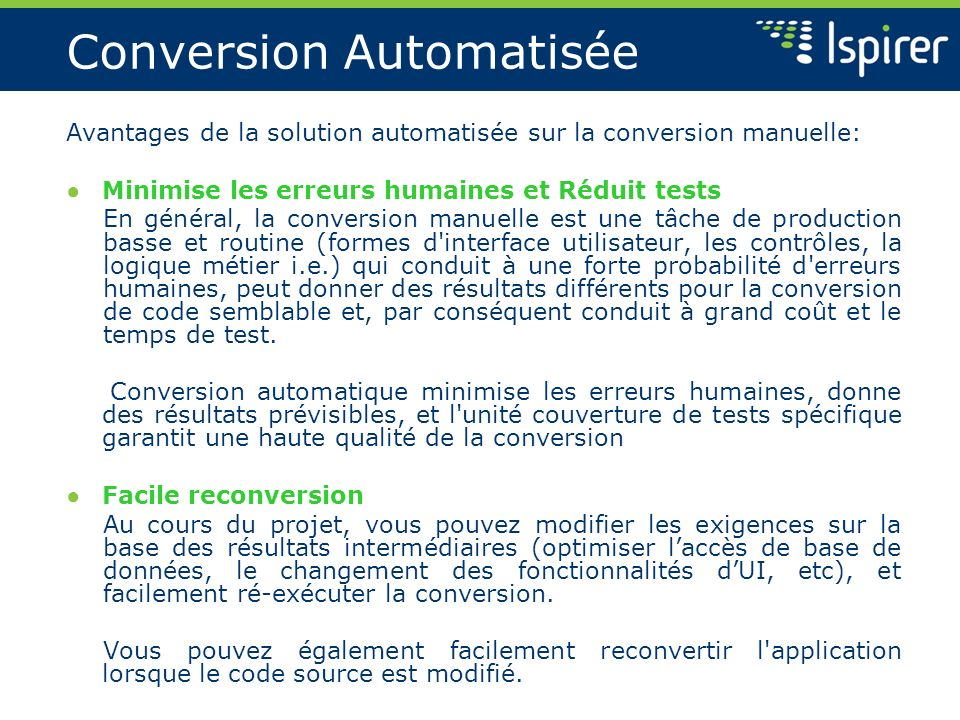 Conversion Automatisée