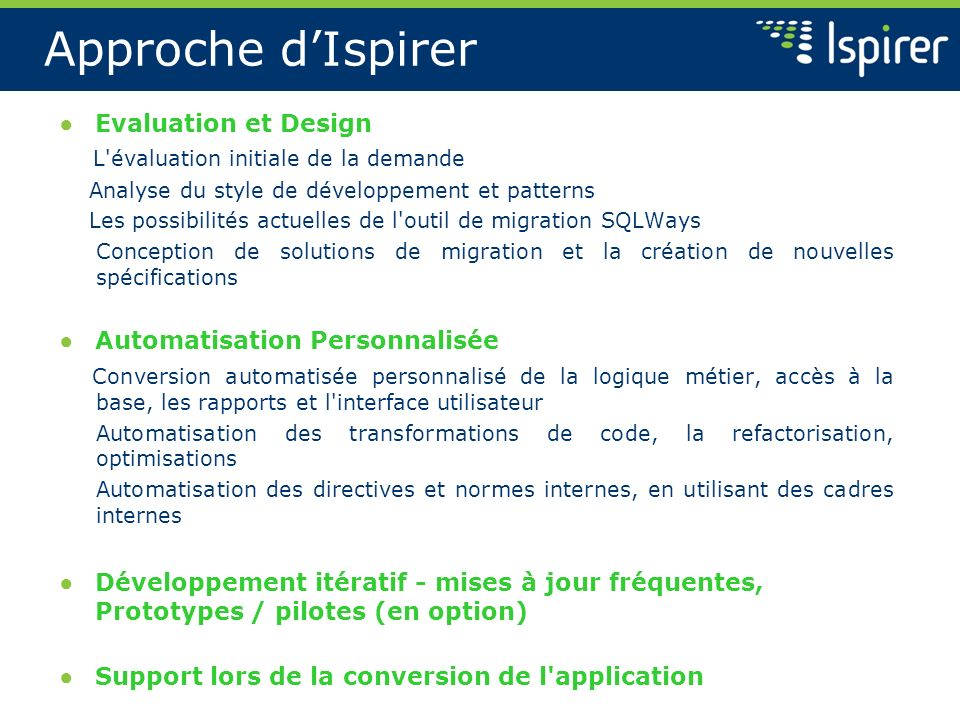 Approche d'Ispirer Evaluation et Design