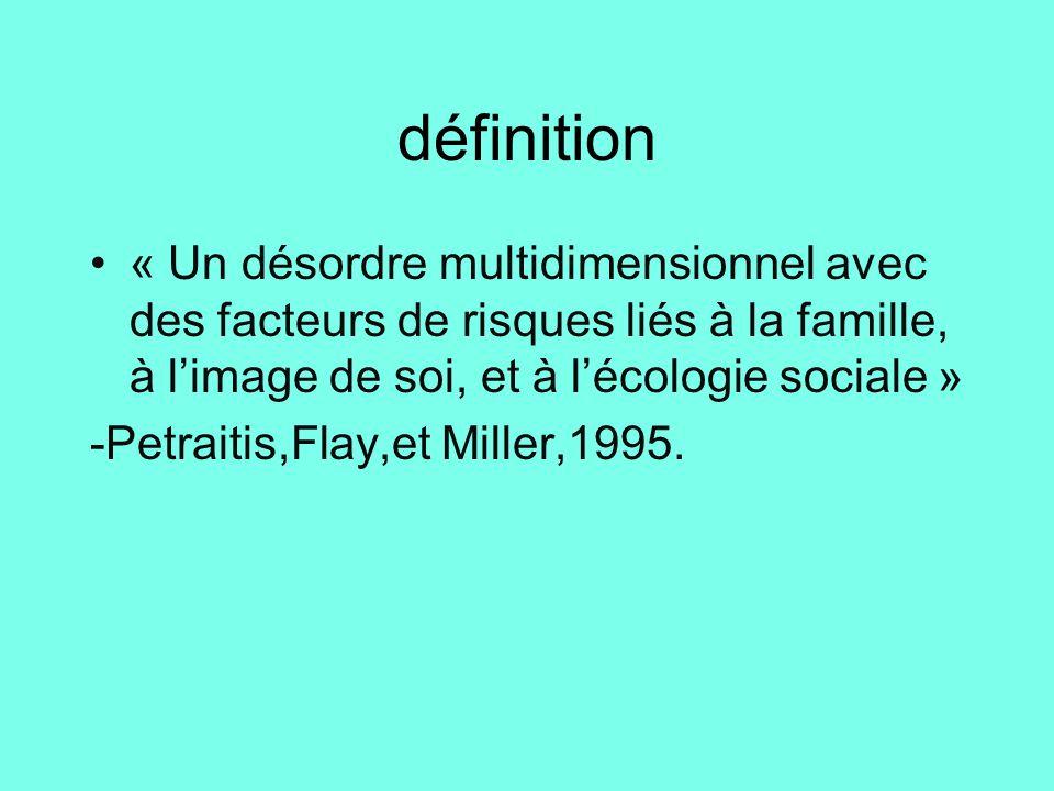 définition « Un désordre multidimensionnel avec des facteurs de risques liés à la famille, à l'image de soi, et à l'écologie sociale »