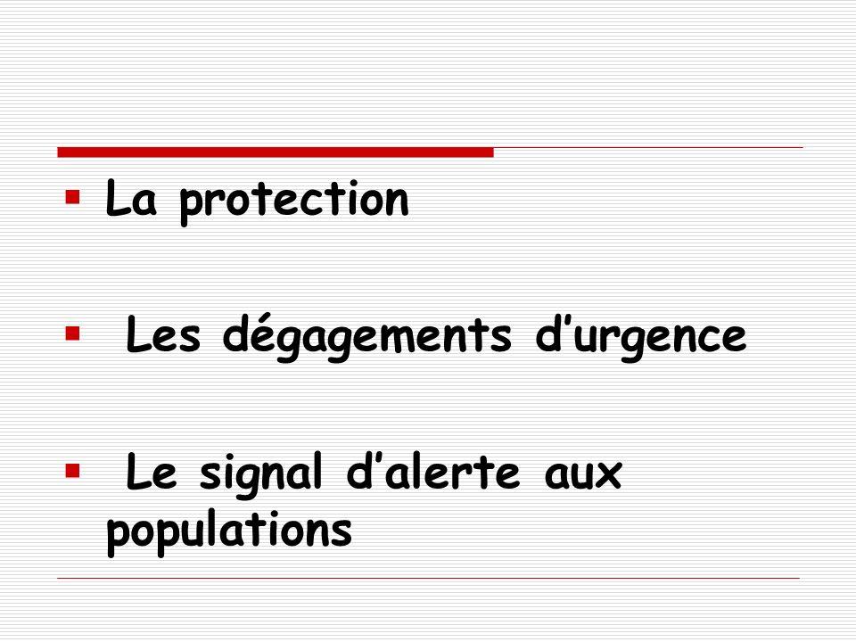 La protection Les dégagements d'urgence Le signal d'alerte aux populations