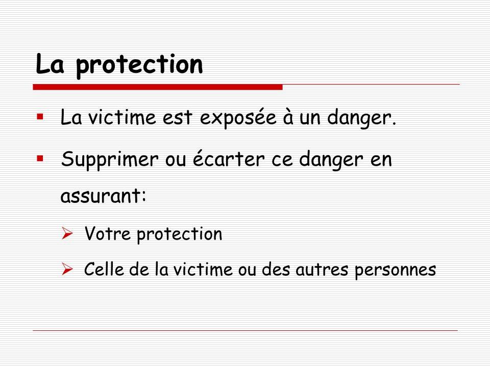 La protection La victime est exposée à un danger.