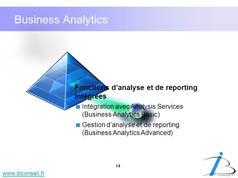 Business Analytics Fonctions d'analyse et de reporting intégrées