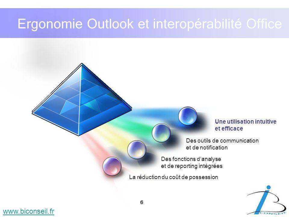Ergonomie Outlook et interopérabilité Office