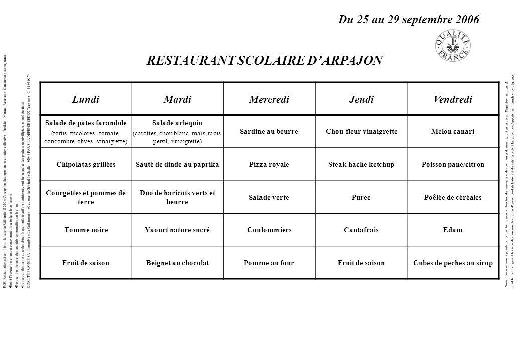 RESTAURANT SCOLAIRE D'ARPAJON