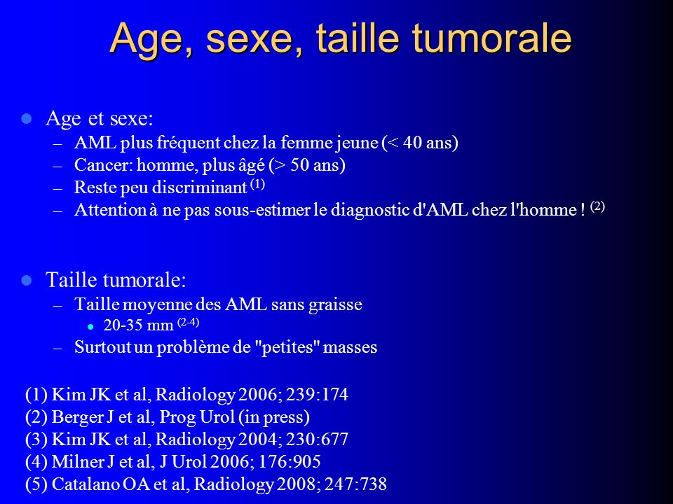 Age, sexe, taille tumorale