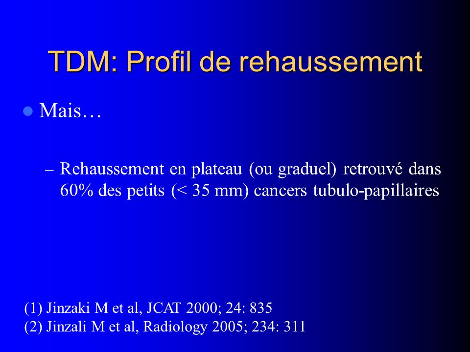TDM: Profil de rehaussement
