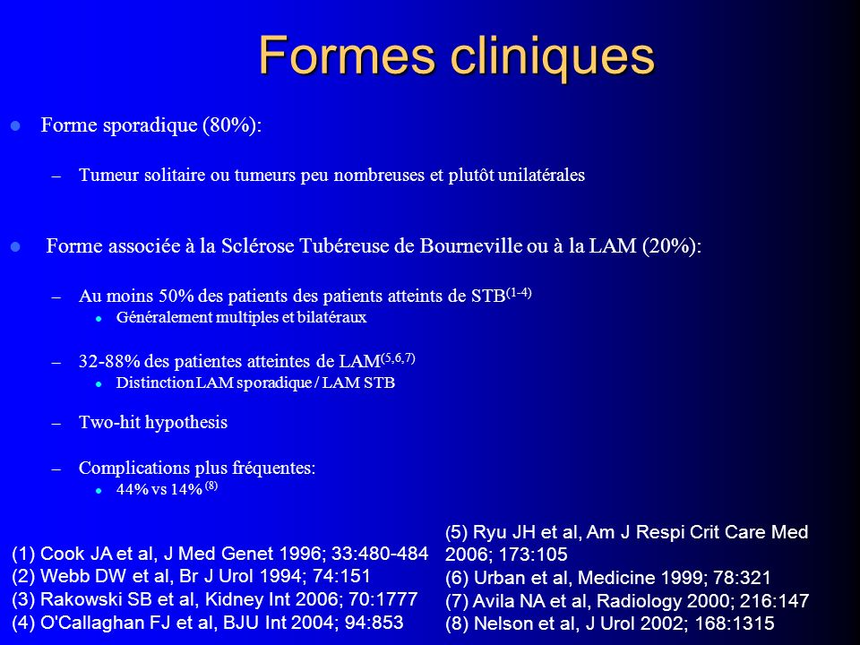 Formes cliniques Forme sporadique (80%):