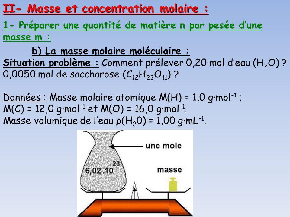 II- Masse et concentration molaire :
