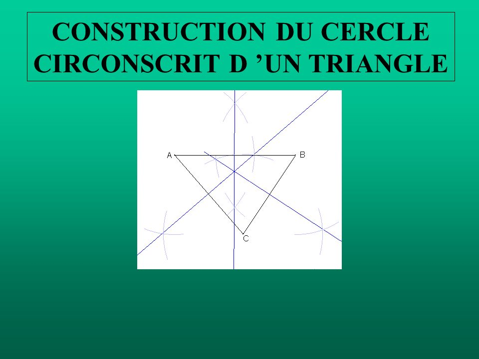 CONSTRUCTION DU CERCLE CIRCONSCRIT D 'UN TRIANGLE