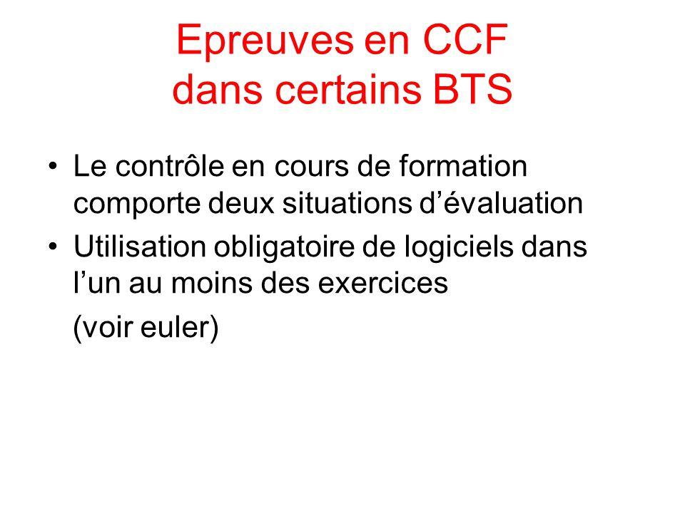 Epreuves en CCF dans certains BTS