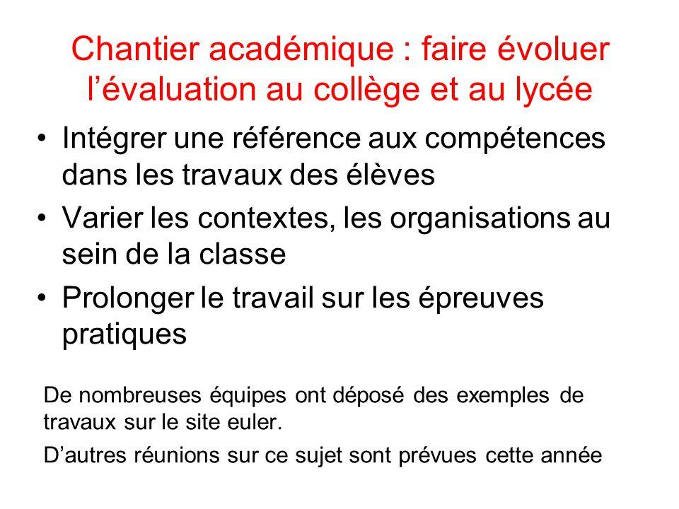 Chantier académique : faire évoluer l'évaluation au collège et au lycée