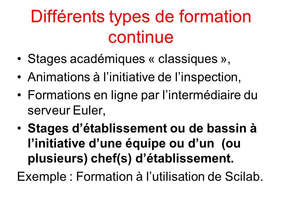 Différents types de formation continue