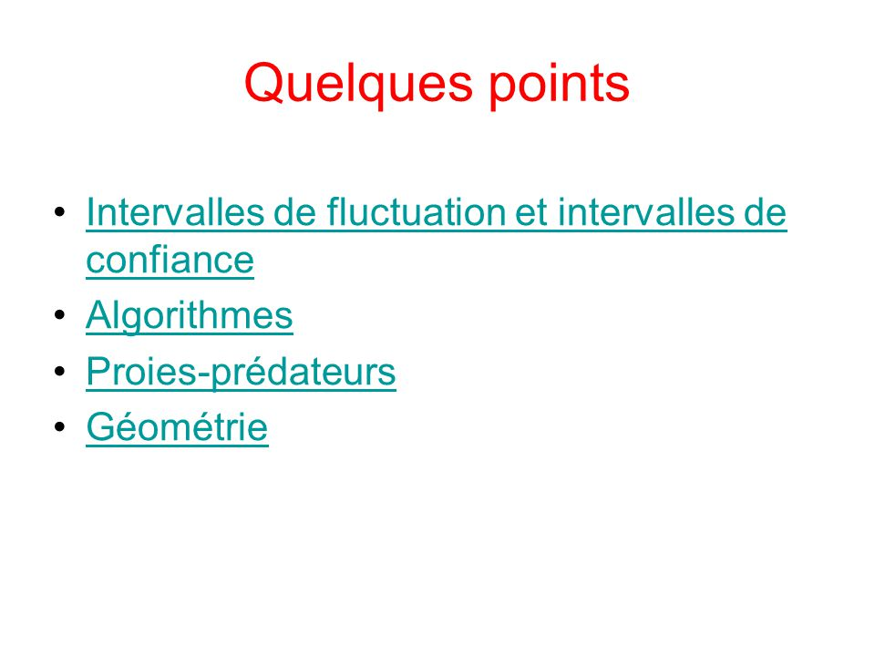 Quelques points Intervalles de fluctuation et intervalles de confiance