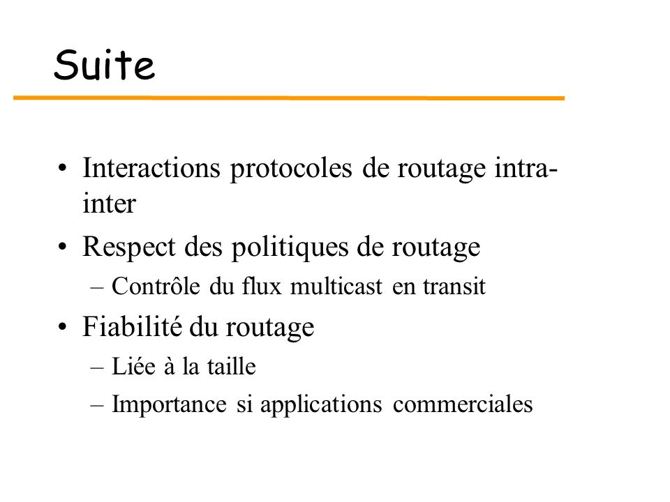 Suite Interactions protocoles de routage intra-inter