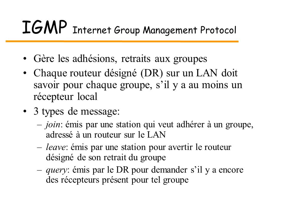 IGMP Internet Group Management Protocol