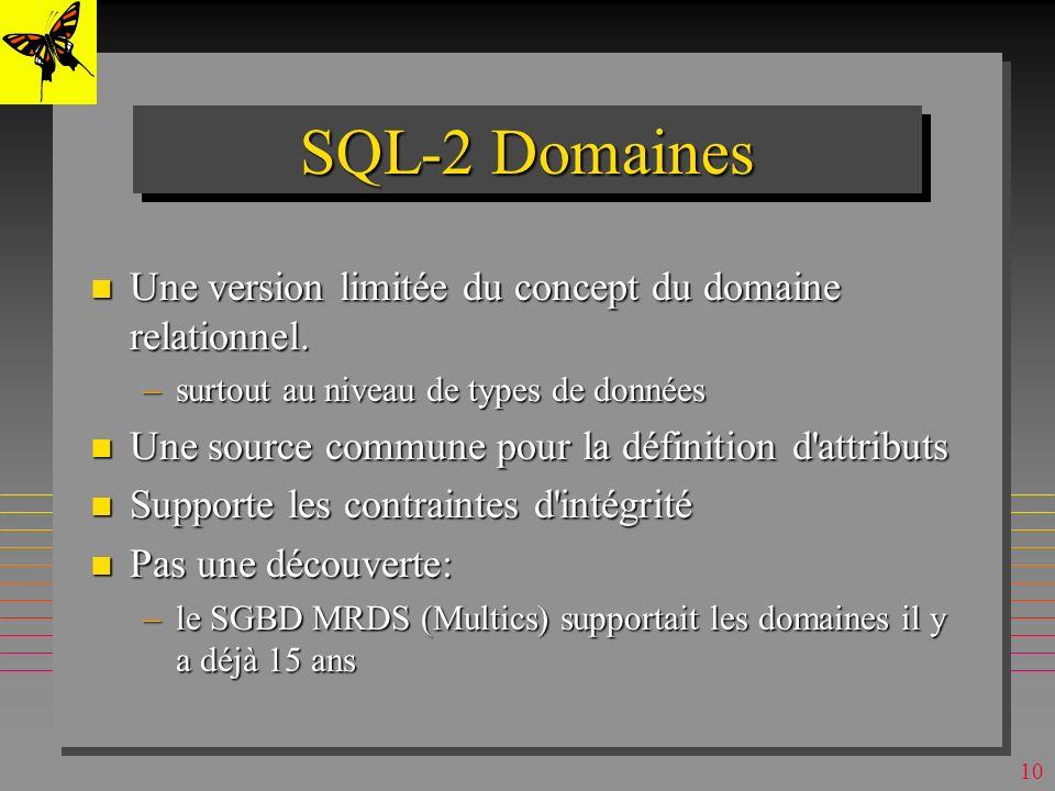 SQL-2 Domaines Une version limitée du concept du domaine relationnel.