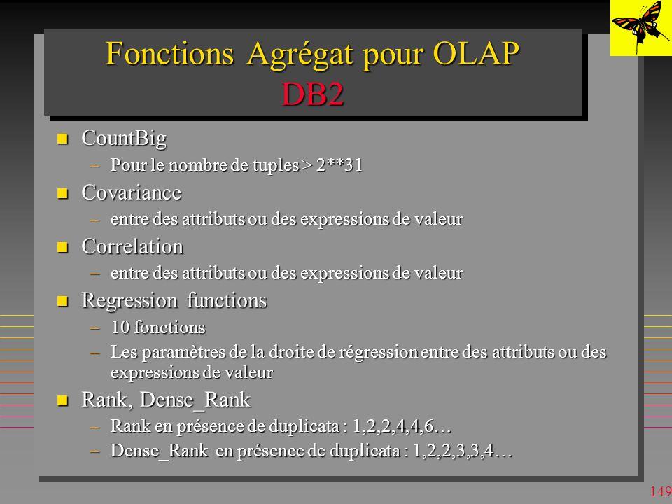 Fonctions Agrégat pour OLAP DB2