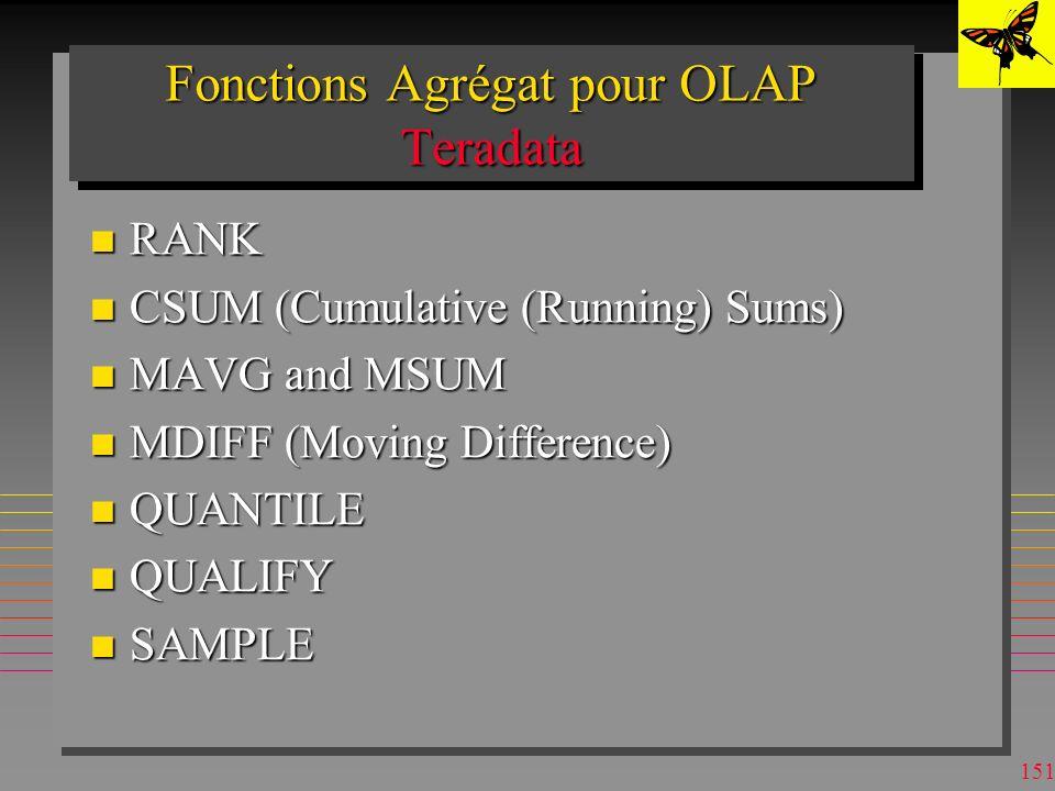 Fonctions Agrégat pour OLAP Teradata