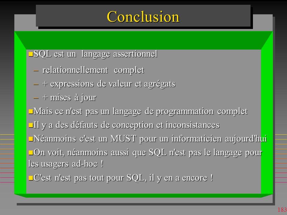 Conclusion SQL est un langage assertionnel relationnellement complet