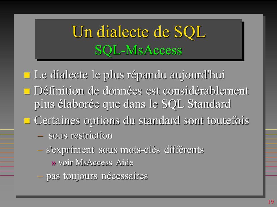 Un dialecte de SQL SQL-MsAccess