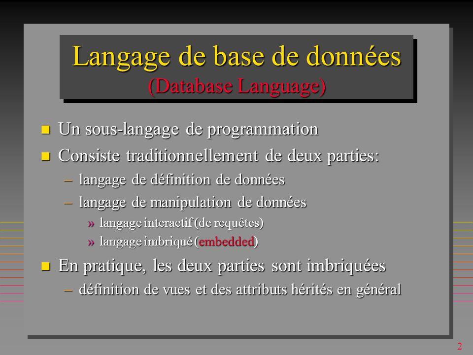 Langage de base de données (Database Language)