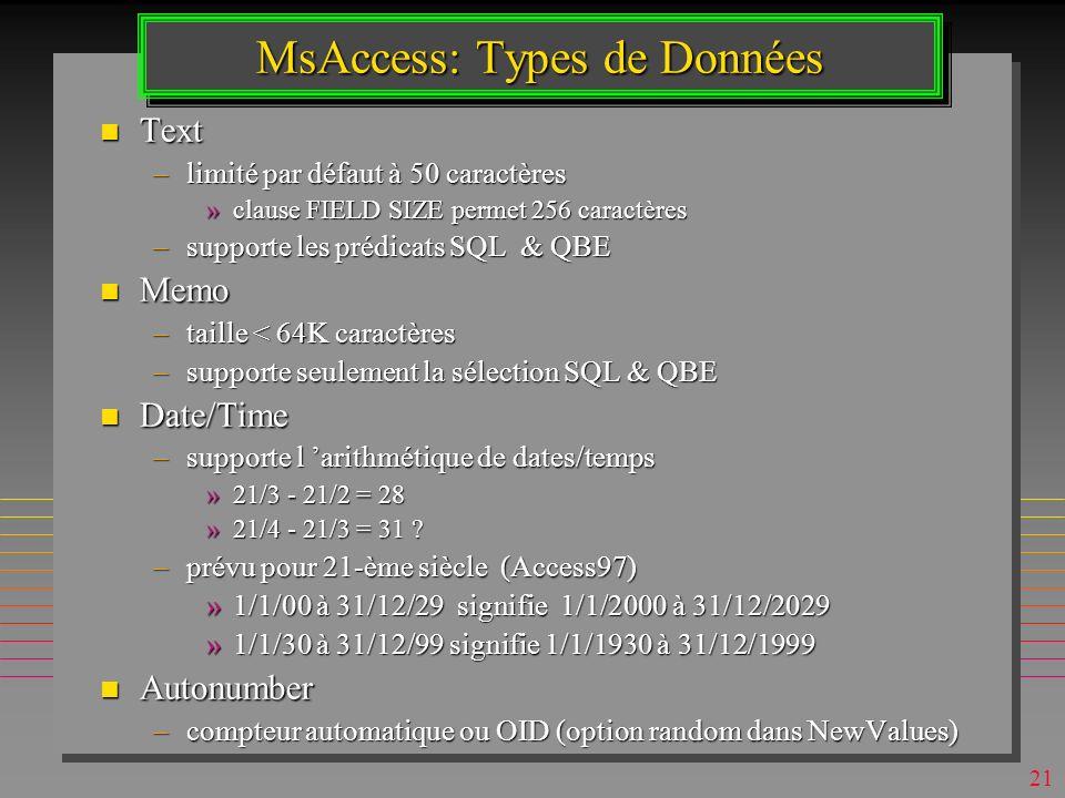 MsAccess: Types de Données