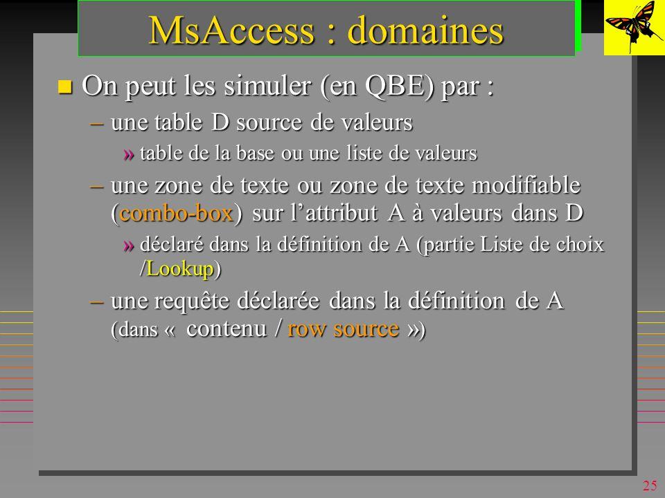 MsAccess : domaines On peut les simuler (en QBE) par :