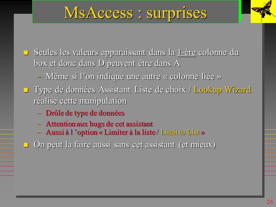 MsAccess : surprises Seules les valeurs apparaissant dans la 1-ère colonne du box et donc dans D peuvent être dans A.