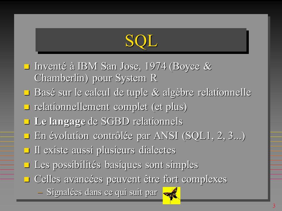 SQL Inventé à IBM San Jose, 1974 (Boyce & Chamberlin) pour System R