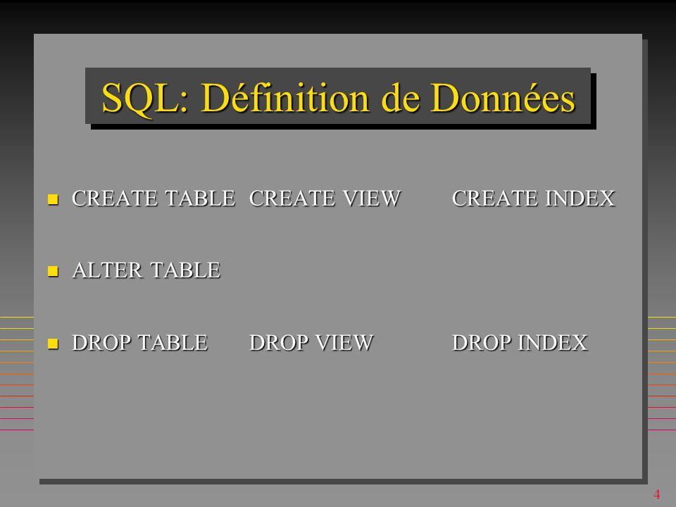 SQL: Définition de Données