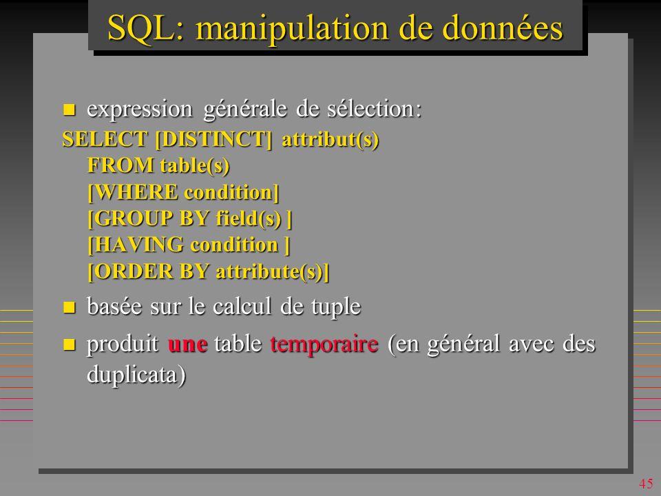 SQL: manipulation de données