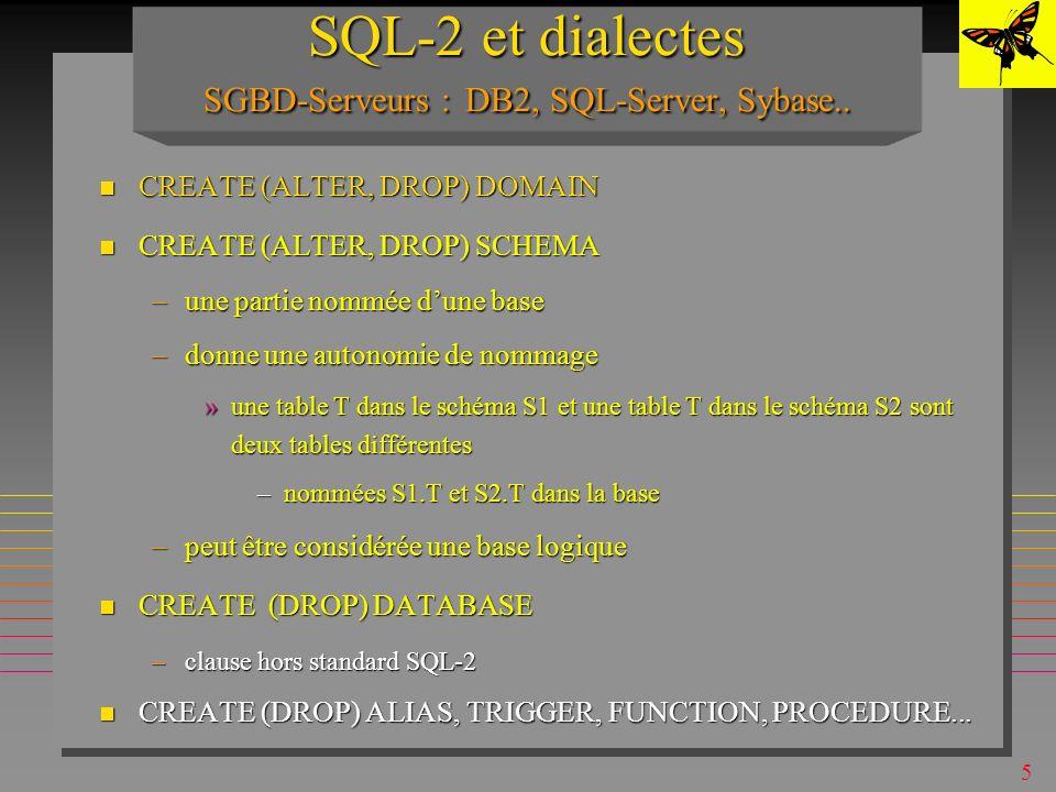 SQL-2 et dialectes SGBD-Serveurs : DB2, SQL-Server, Sybase..