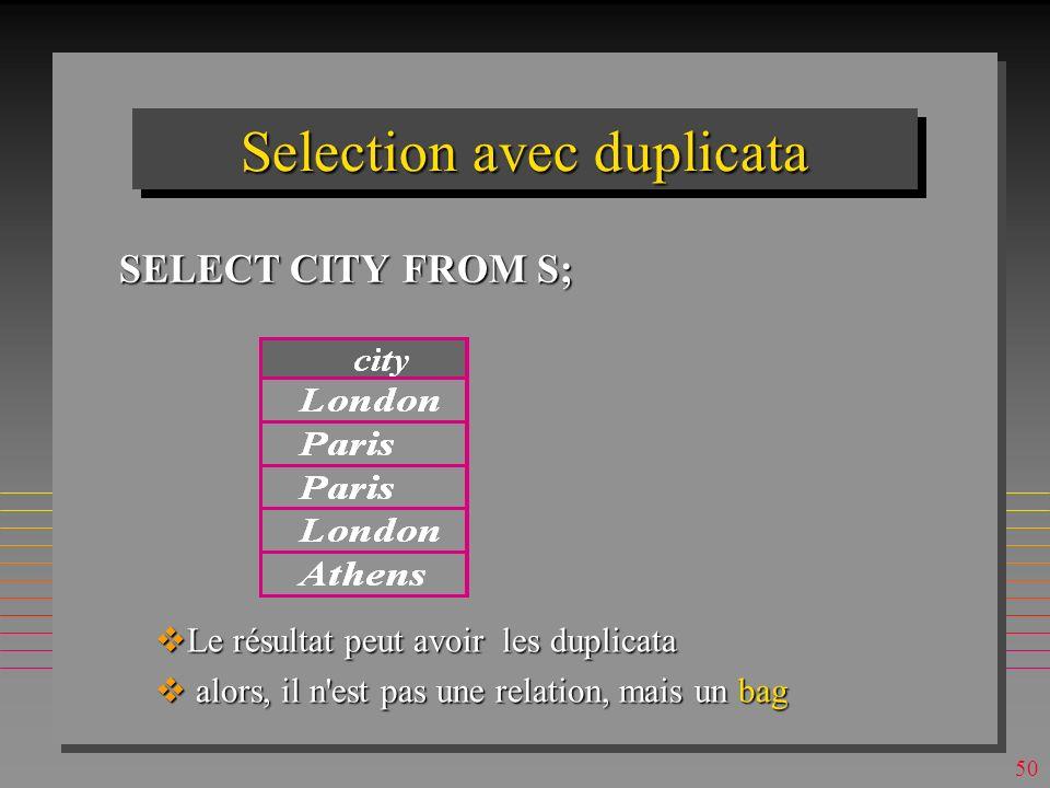 Selection avec duplicata