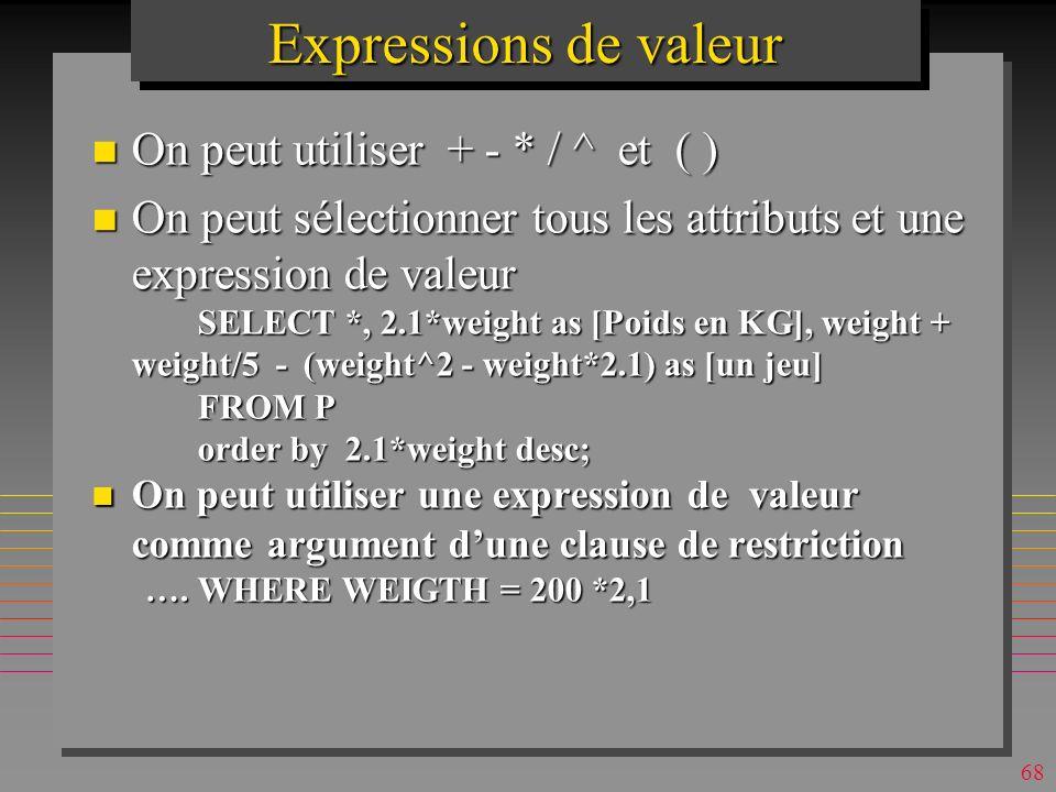 Expressions de valeur On peut utiliser + - * / ^ et ( )