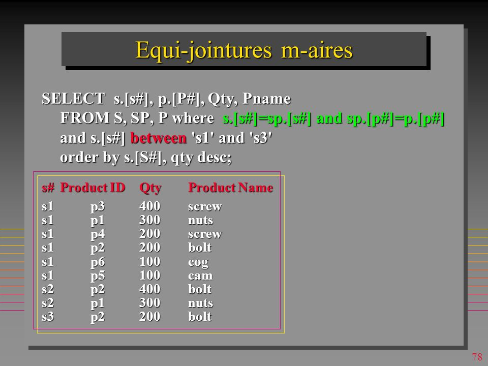 Equi-jointures m-aires