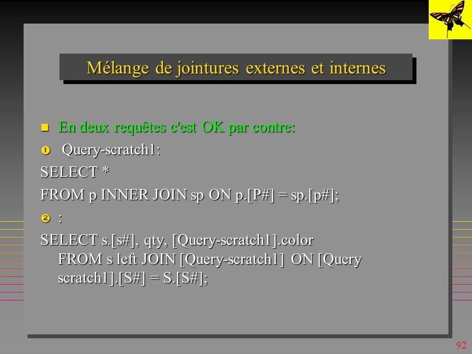 Mélange de jointures externes et internes