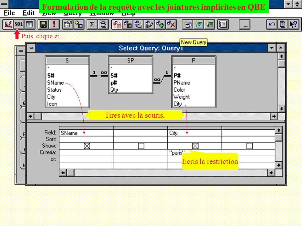Formulation de la requête avec les jointures implicites en QBE