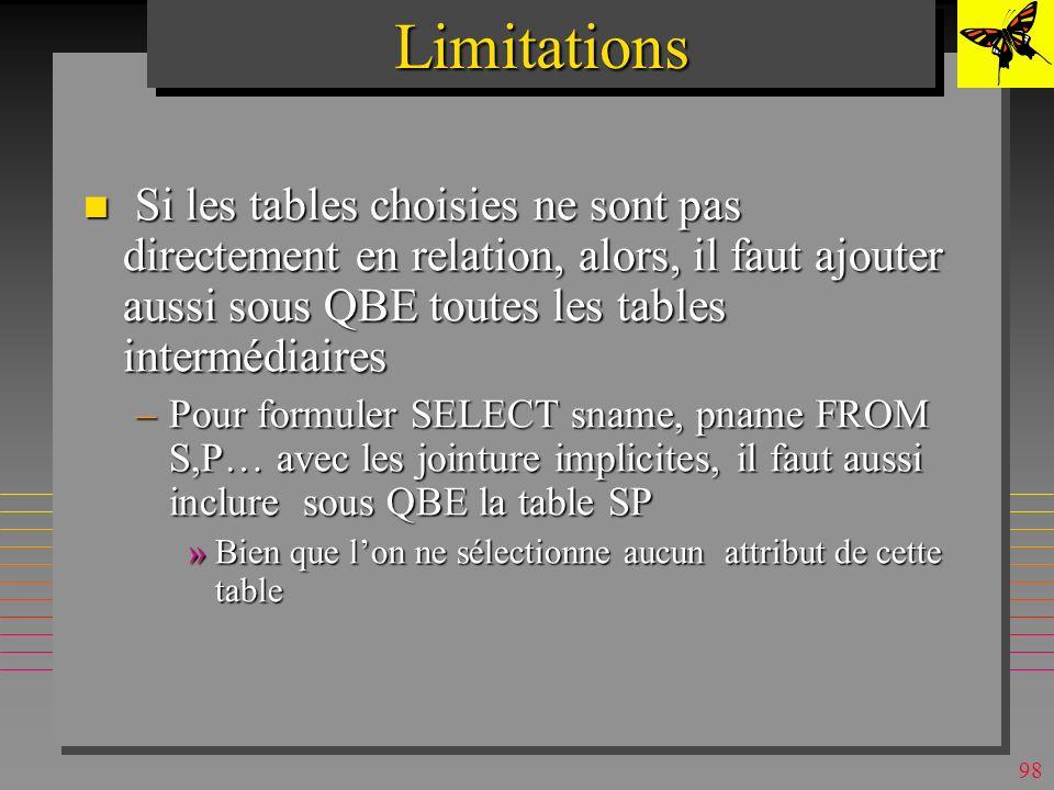 Limitations Si les tables choisies ne sont pas directement en relation, alors, il faut ajouter aussi sous QBE toutes les tables intermédiaires.