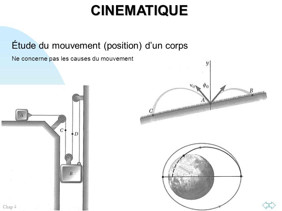 CINEMATIQUE Étude du mouvement (position) d'un corps