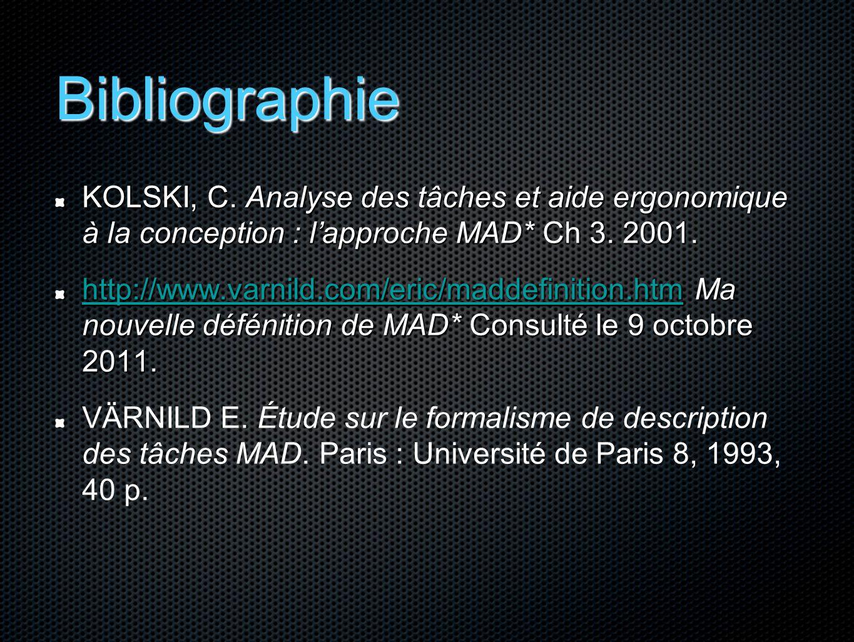 Bibliographie KOLSKI, C. Analyse des tâches et aide ergonomique à la conception : l'approche MAD* Ch 3. 2001.