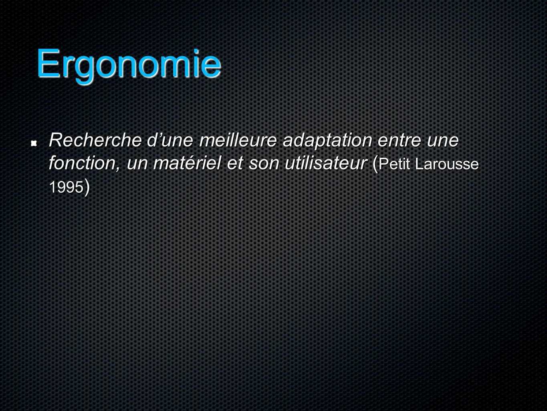 Ergonomie Recherche d'une meilleure adaptation entre une fonction, un matériel et son utilisateur (Petit Larousse 1995)