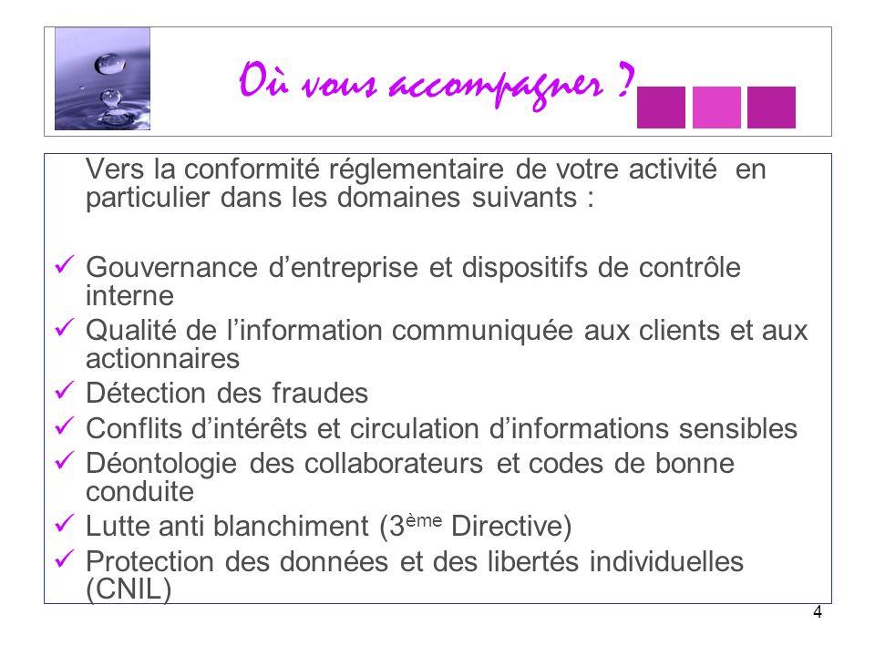 Où vous accompagner Vers la conformité réglementaire de votre activité en particulier dans les domaines suivants :