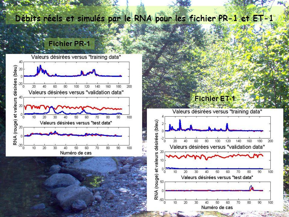 Débits réels et simulés par le RNA pour les fichier PR-1 et ET-1