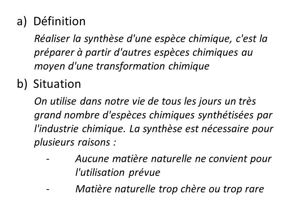 Définition Réaliser la synthèse d une espèce chimique, c est la préparer à partir d autres espèces chimiques au moyen d une transformation chimique.