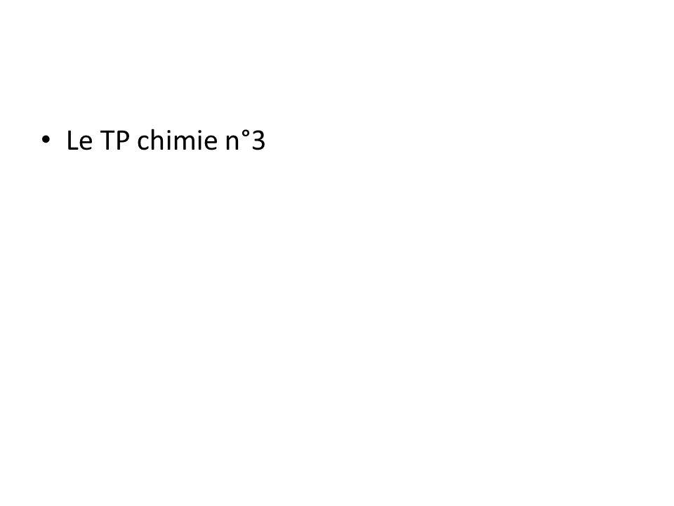 Le TP chimie n°3