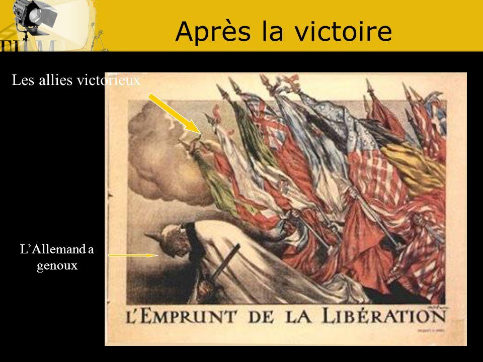 Après la victoire Les allies victorieux L'Allemand a genoux