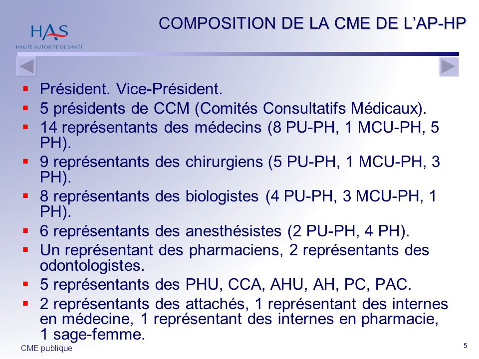 COMPOSITION DE LA CME DE L'AP-HP